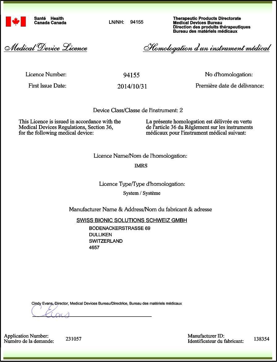 Health Canada - PEMF certificate